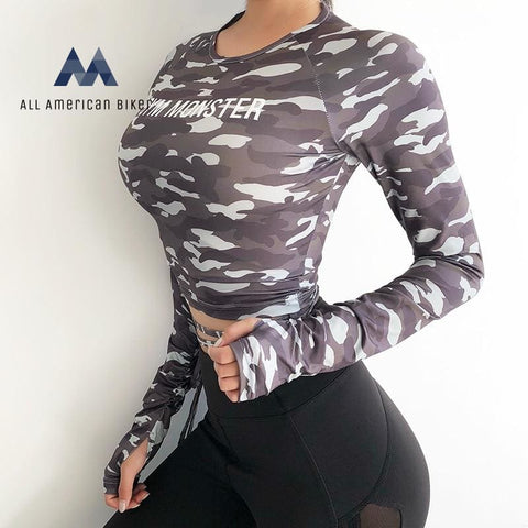 Women Sexy Long Sleeve Crop Top Fitness T-Shirts Workout Running Clothes W/tops