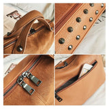 Womens High Quality Leather Vintage Motorcycle Tote Bag Top-Handle Bags