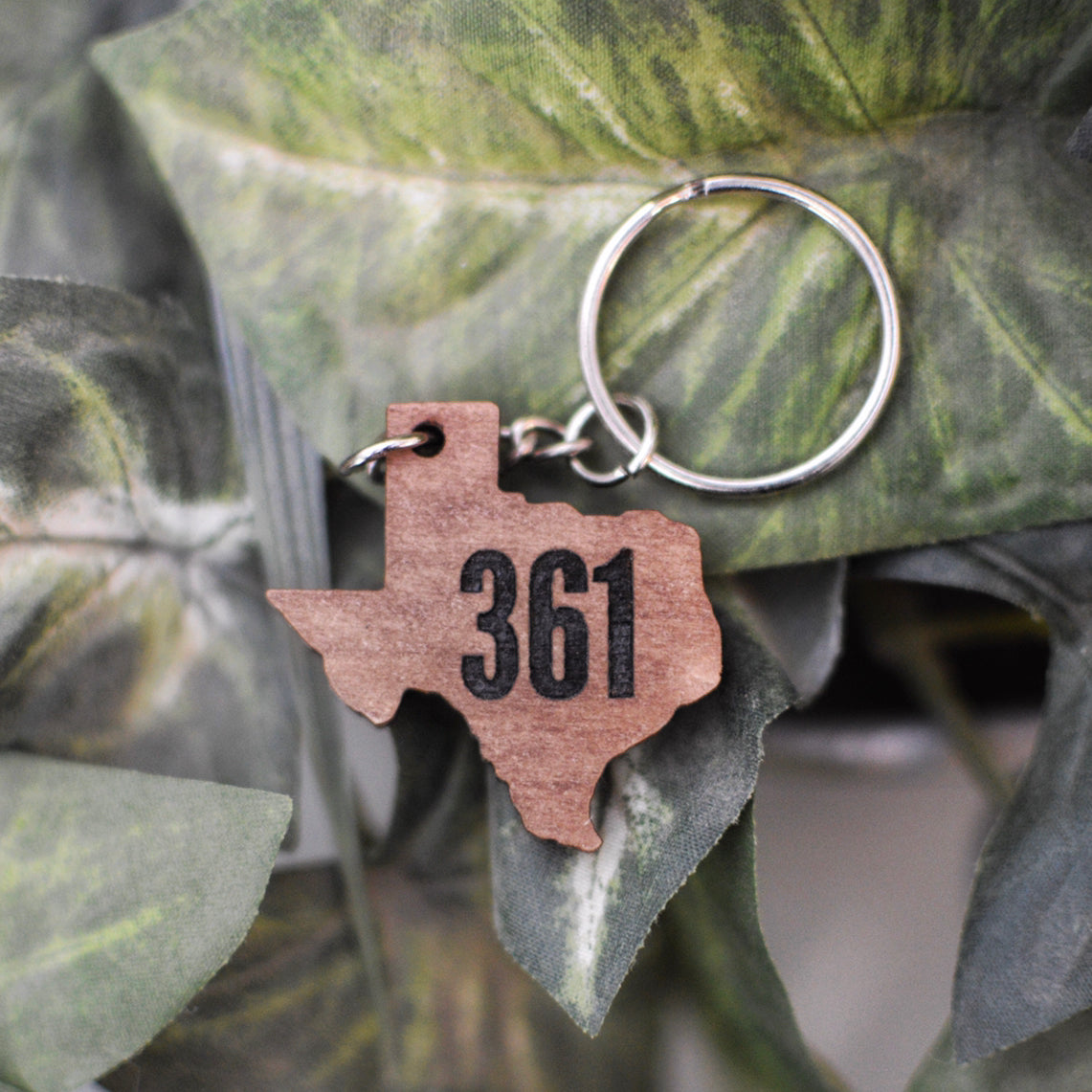 Wooden Texas Keychain
