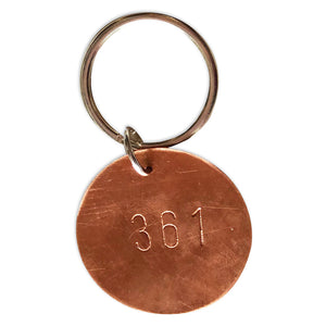 Copper Hand Stamped Key Tag