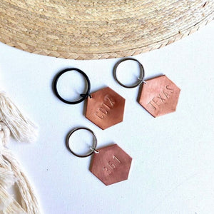 Copper Hand Stamped Key Tag  - Hexagon