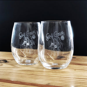 Stemless Etched Wine Glass - Gulf Coast Girls