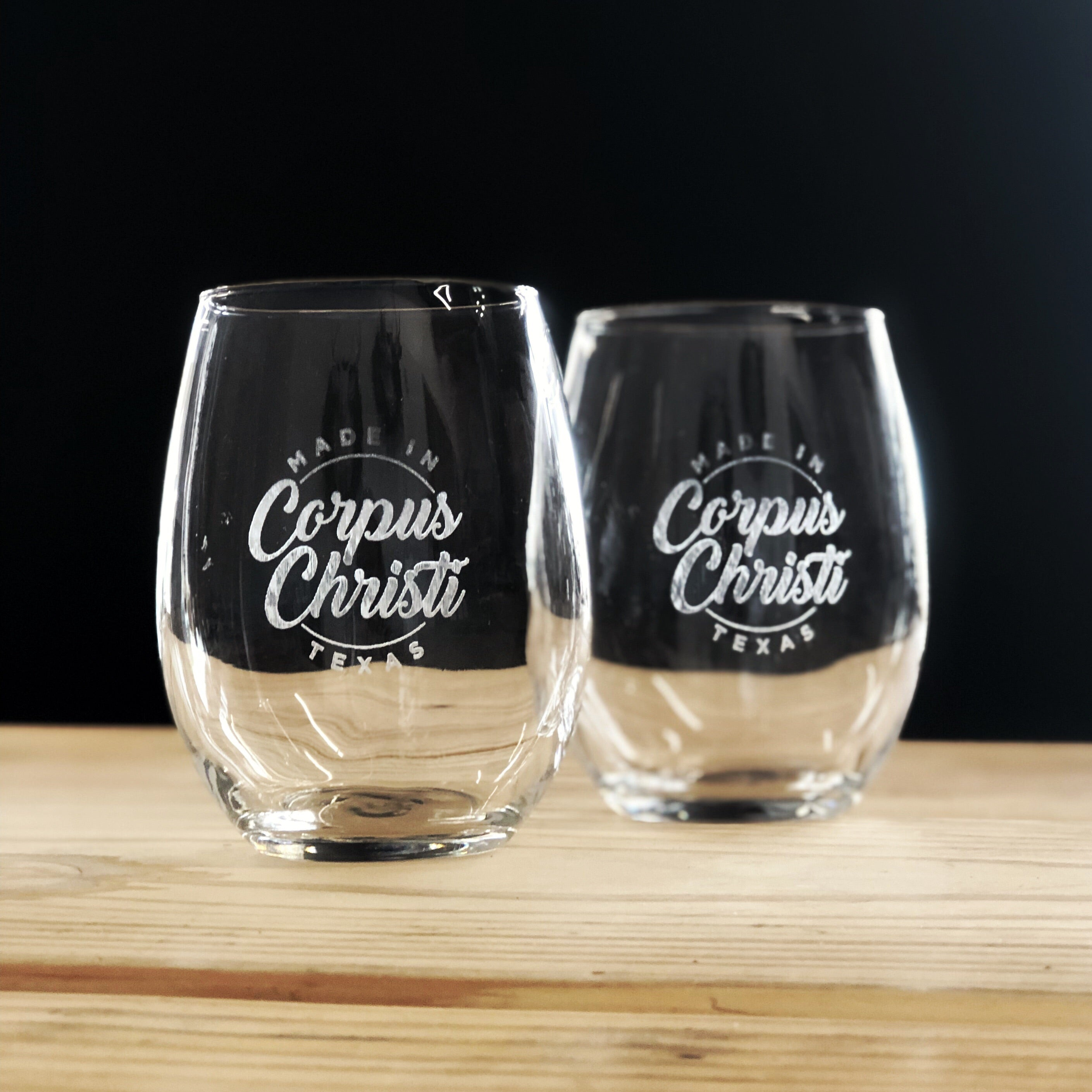 Made in Corpus Christi Etched Wine Glass