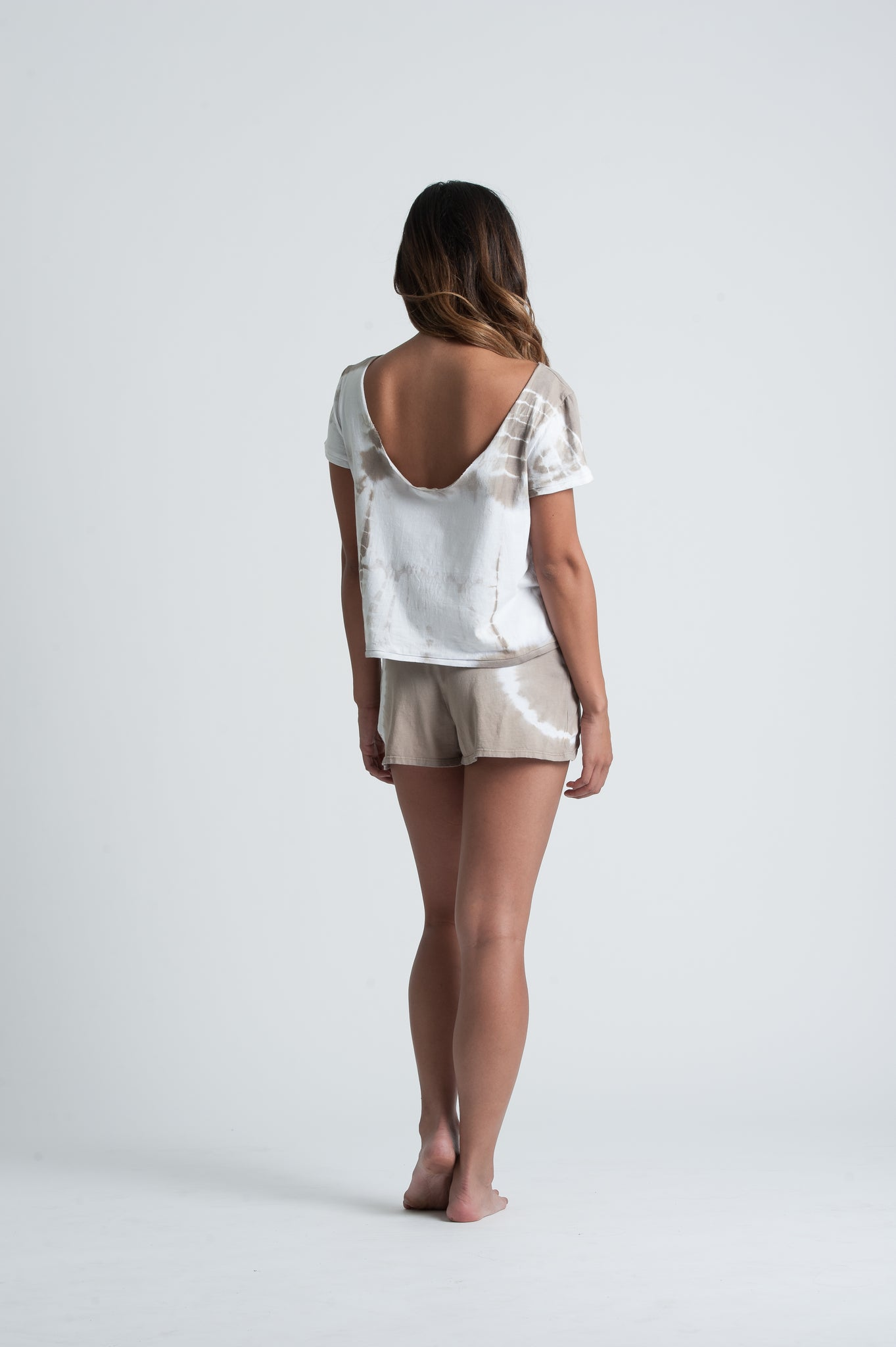 MOON SCOOP NECK TOP | TAUPE TIE DYE
