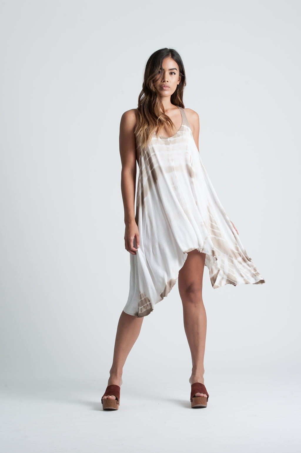 KRYSTLE RACER BACK DRESS | TAUPE TIE DYE