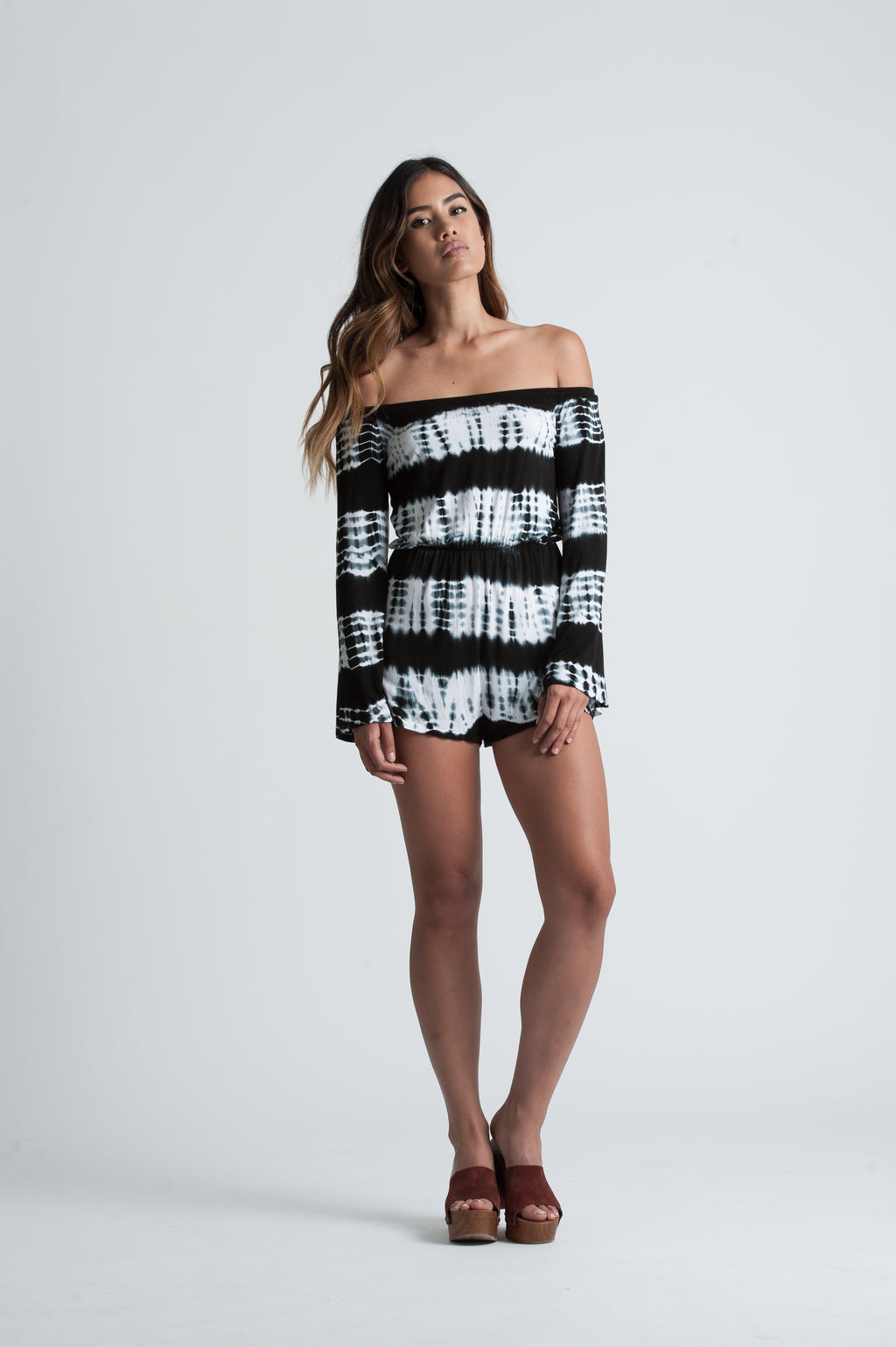 CECILY OFF THE SHOULDER ROMPER | BLACK WHITE TIE DYE