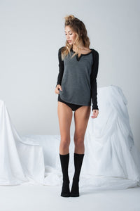 Pearla Henley Baseball Tee in Black Grey