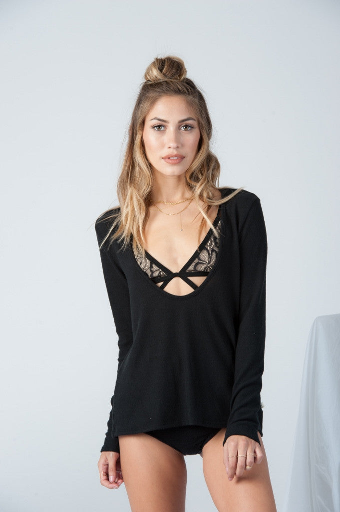 Randi Low Scoop Long Sleeve in Black