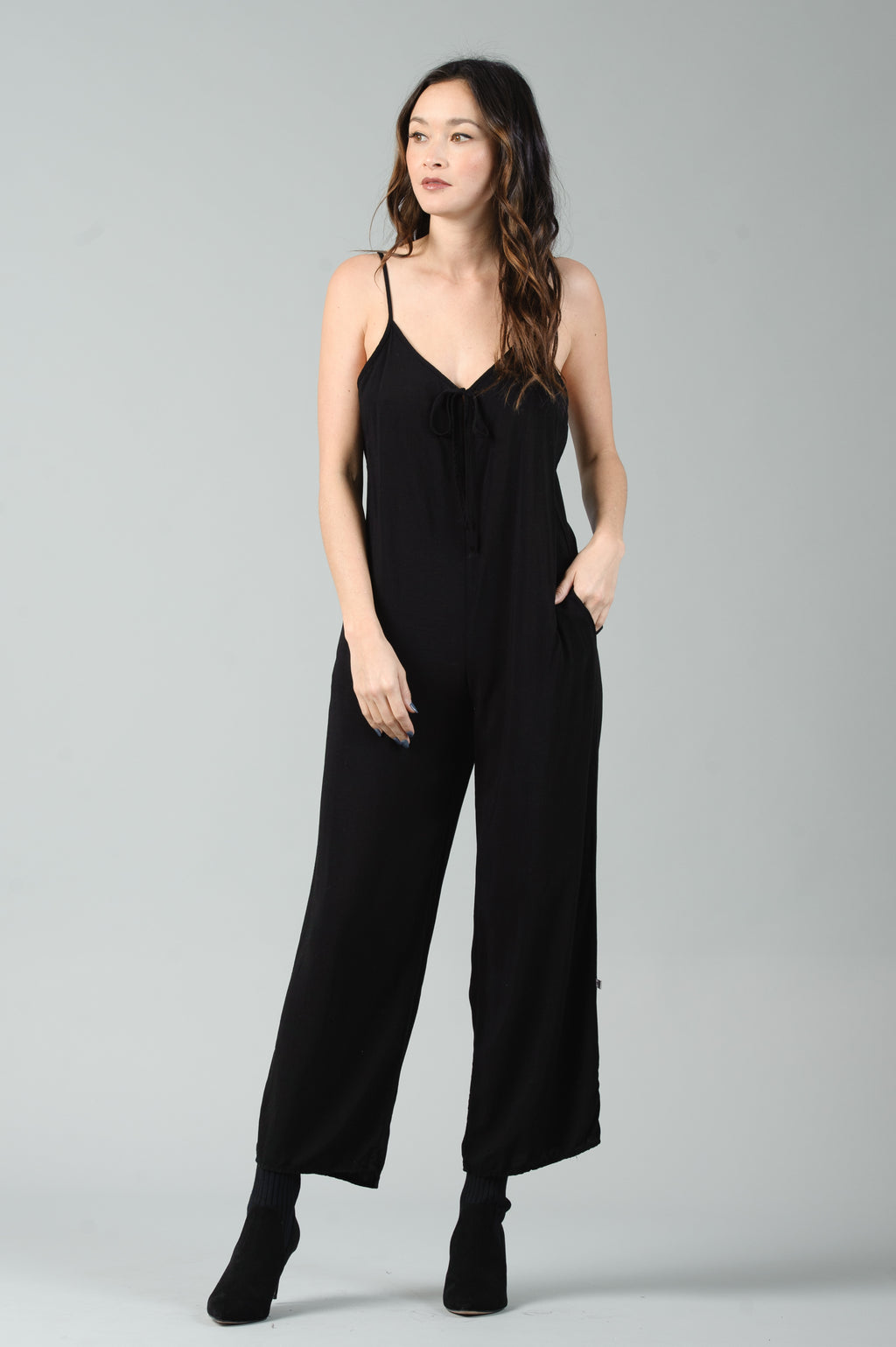 BAILEY LACE UP JUMPSUIT | BLACK