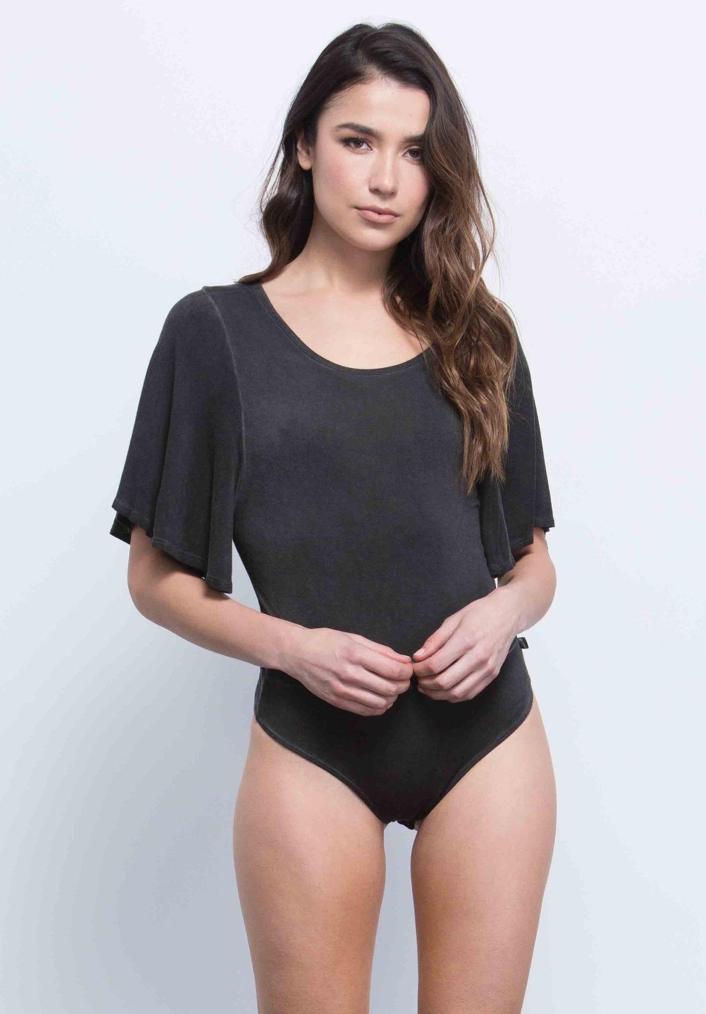 ALEXA FLUTTER SLEEVE BODYSUIT | OIL WASH BLACK