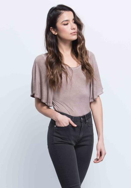 ALEXA FLUTTER SLEEVE BODYSUIT | OIL WASH TAUPE