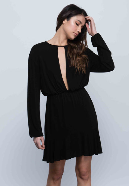 ALLY KEYHOLE FLUTTER DRESS | BLACK