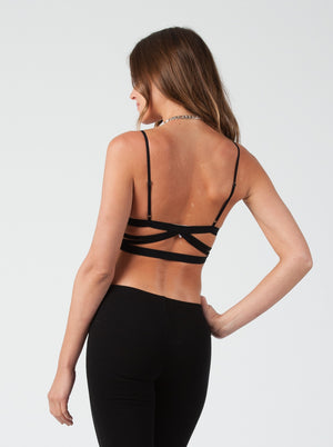 Bralette with criss cross strapping