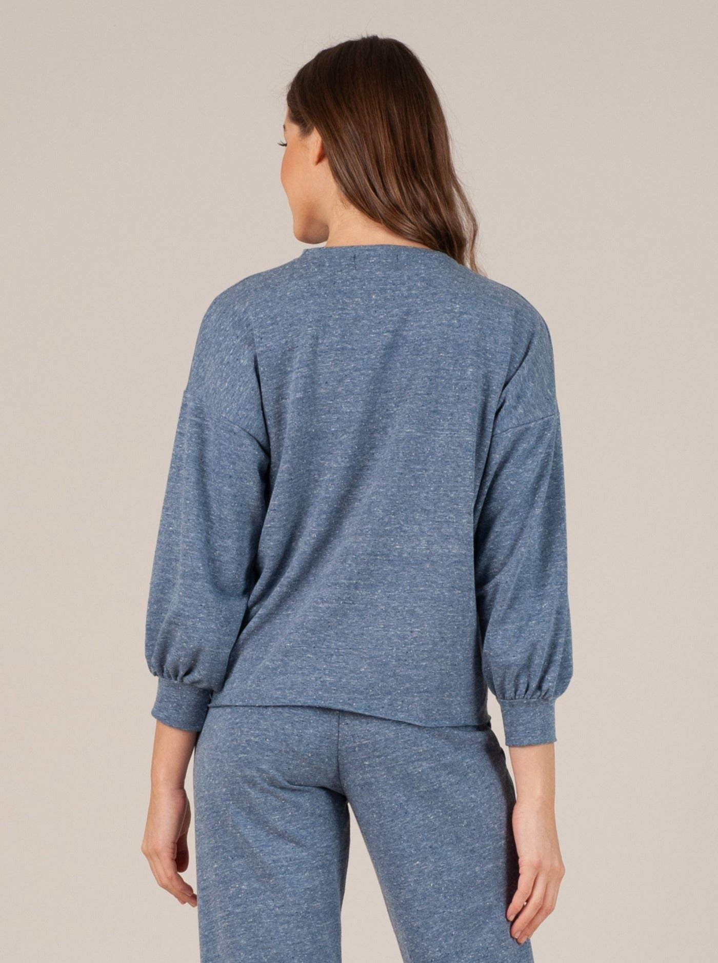 bucharest raw hem 3/4 sleeve top blue