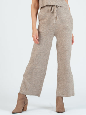 cozy sweater pant with front tie in oatmeal