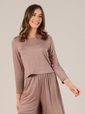 liana cropped long sleeve top brown