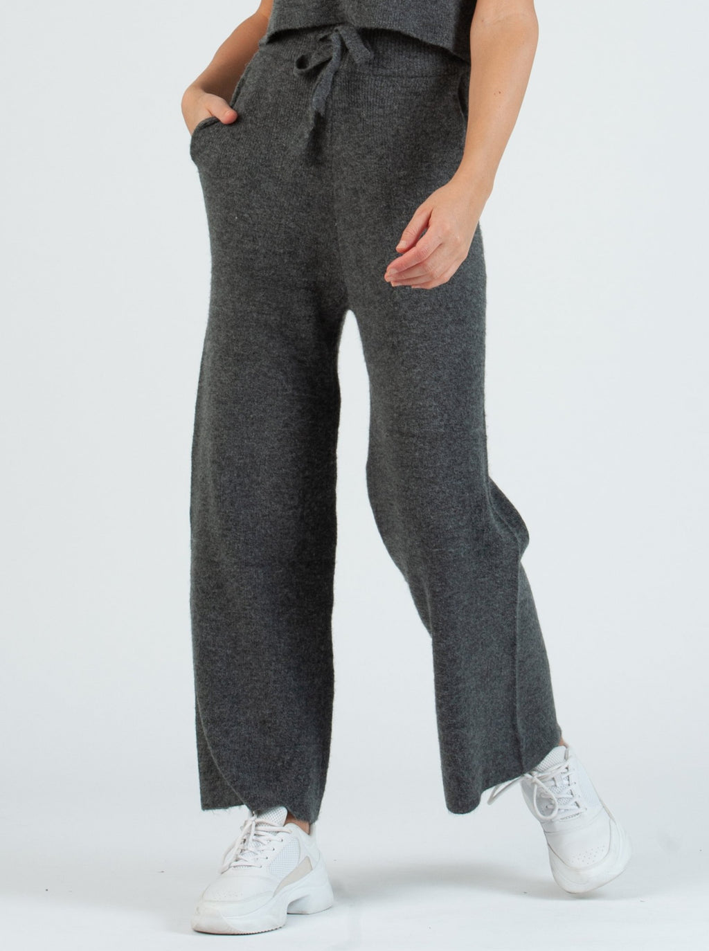 cozy sweater pant with front tie in charcoal