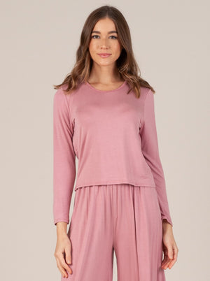liana cropped long sleeve top pink