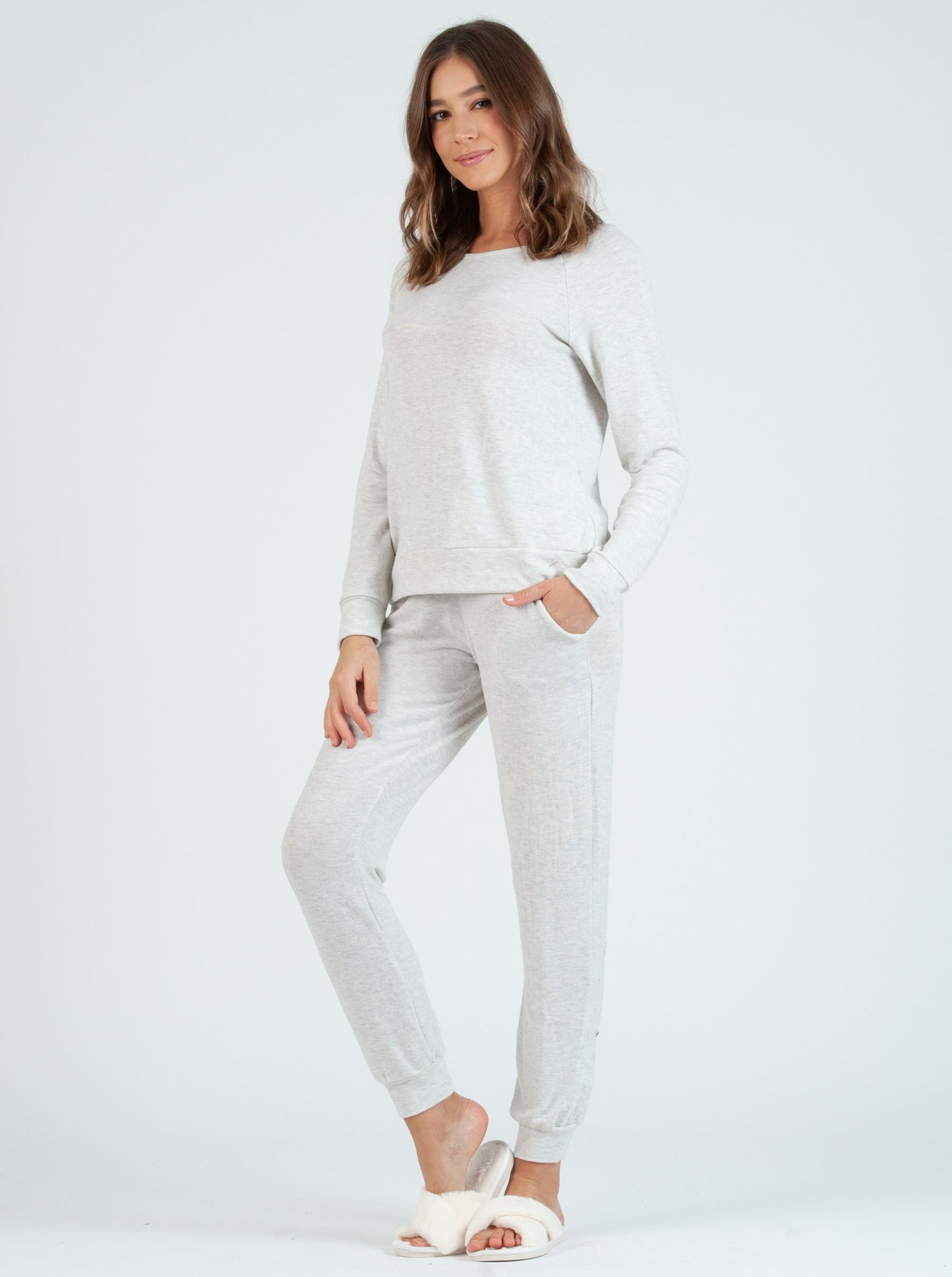 cookie pullover white grey brushed hacci