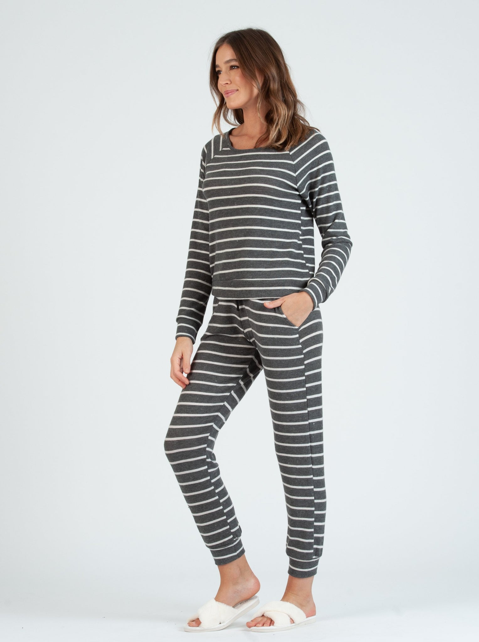 BERLIN GRAY WHITE STRIPE JOGGER PANTS