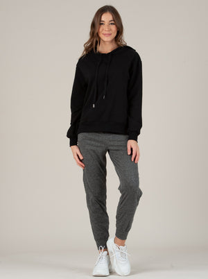 breana hoodie long sleeve top black