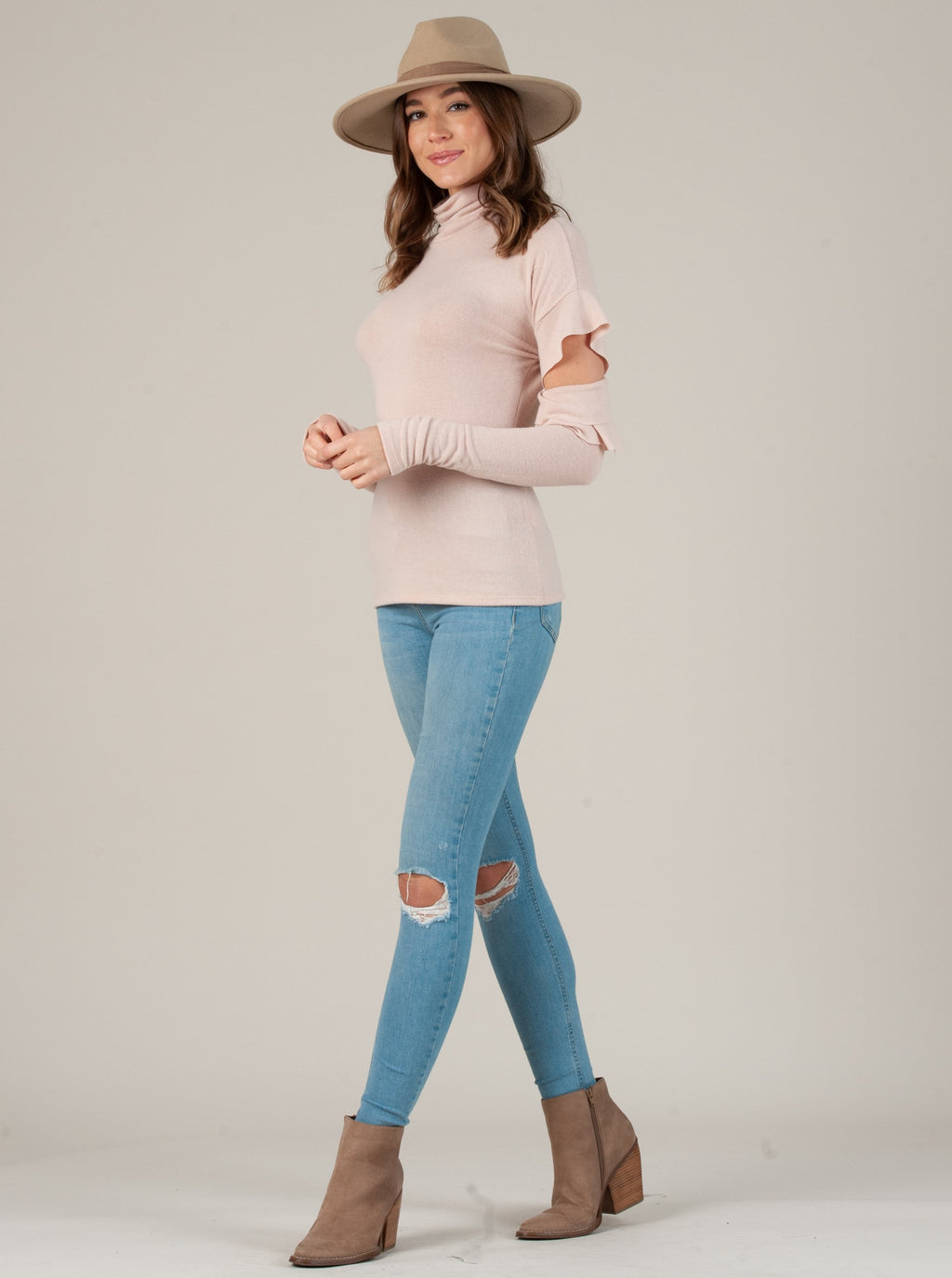 CLAIRE CUT OUT FLUTTER SLEEVE TOP BLUSH