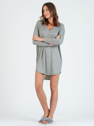olivia V-Neck H. Grey/Blk Stripe Knit Dress
