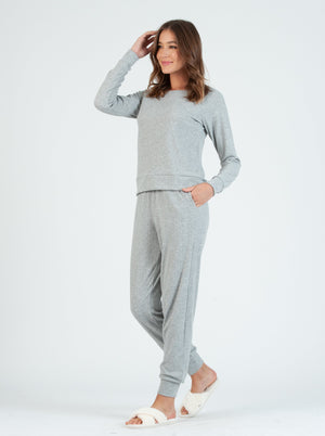 brownie grey pointelle jogger pant