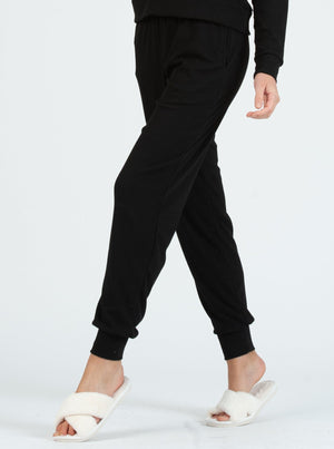 drawstring jogger pant brushed solid charcoal