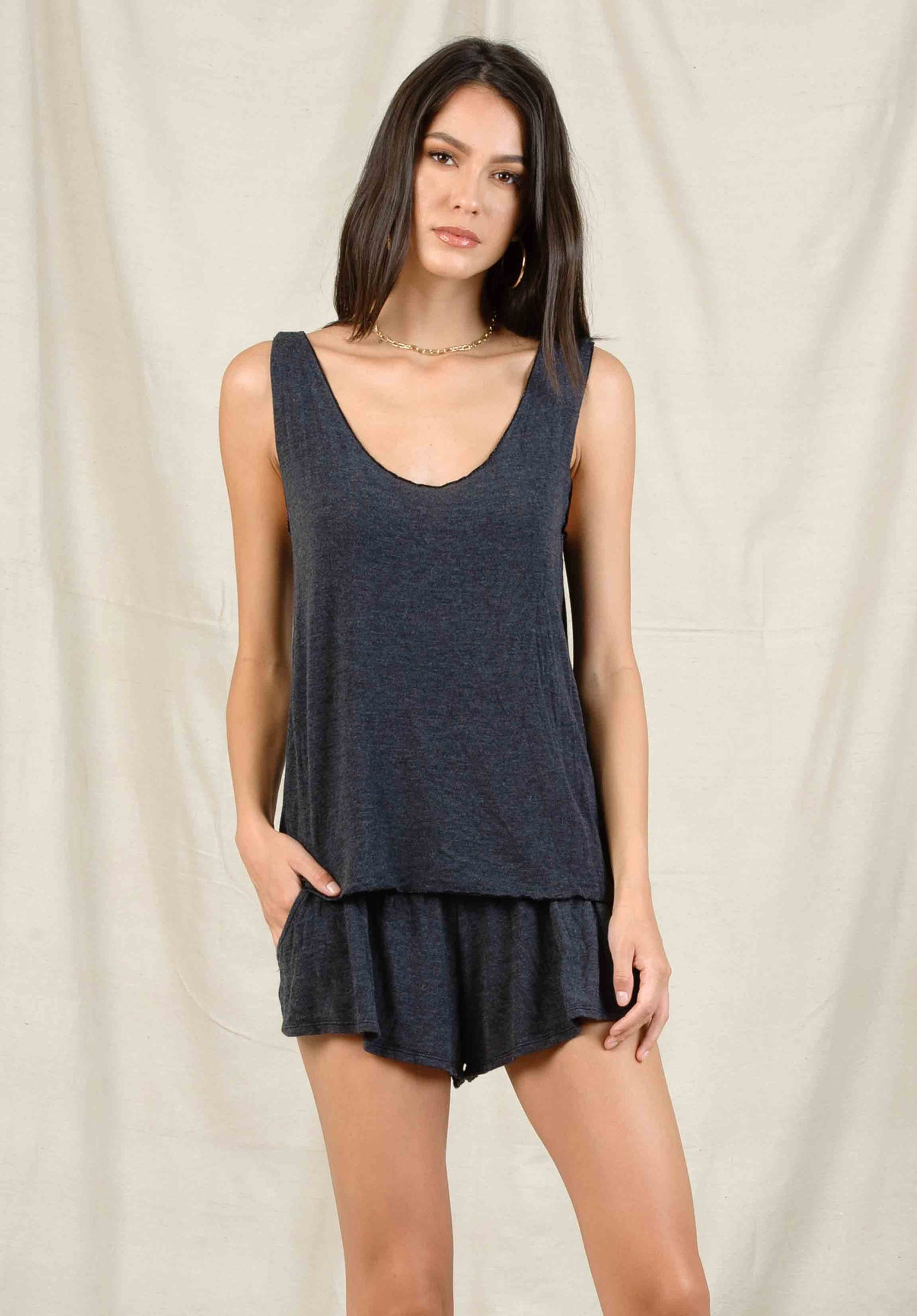 JACKLYN HACCI SCOOP TANK | NAVY