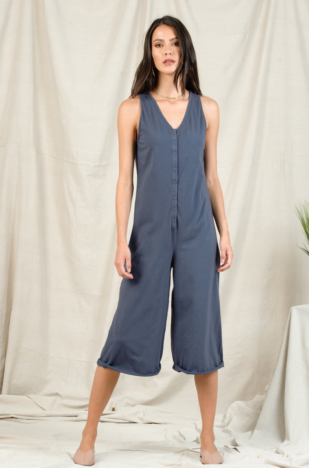 DANA V NECK FRONT SNAP BUTTON JUMPSUIT | BLUE