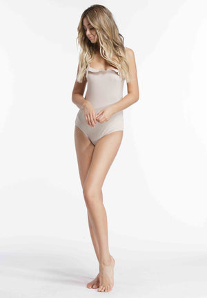 REESE RUFFLE CAMI BODYSUIT | OYSTER
