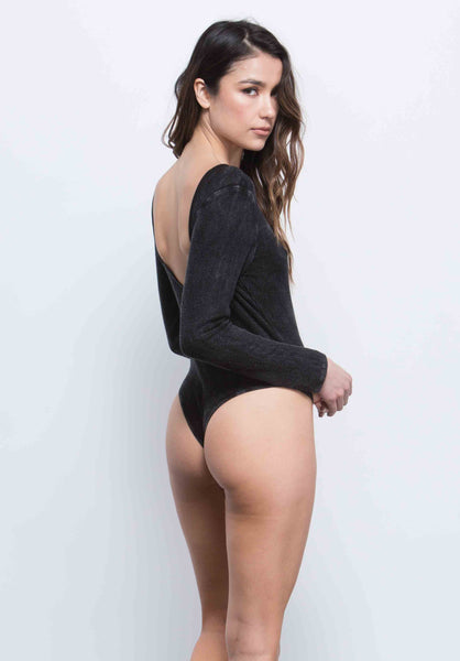 GEMMA DEEP SCOOP BACK BODYSUIT | BLACK