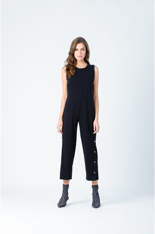 SANDER SIDE SNAP FRENCH TERRY JUMPSUIT | BLACK