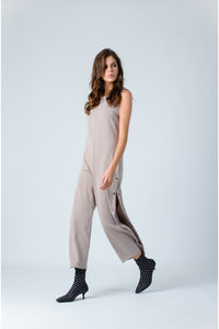 SANDER SIDE SNAP FRENCH TERRY JUMPSUIT | MAUVE