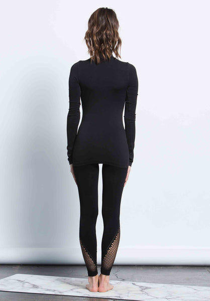 KERRI GRID DETAIL LONG LEGGING | BLACK