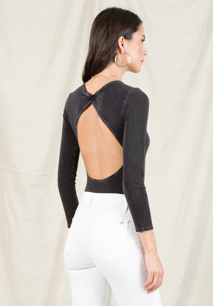 ANNE OPEN BACK BODYSUIT | OIL WASH BLACK