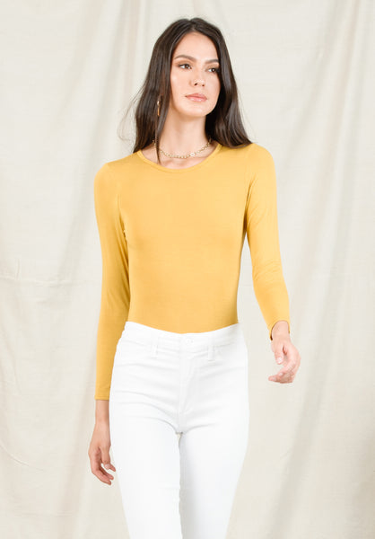 ANNE OPEN BACK BODYSUIT | MUSTARD
