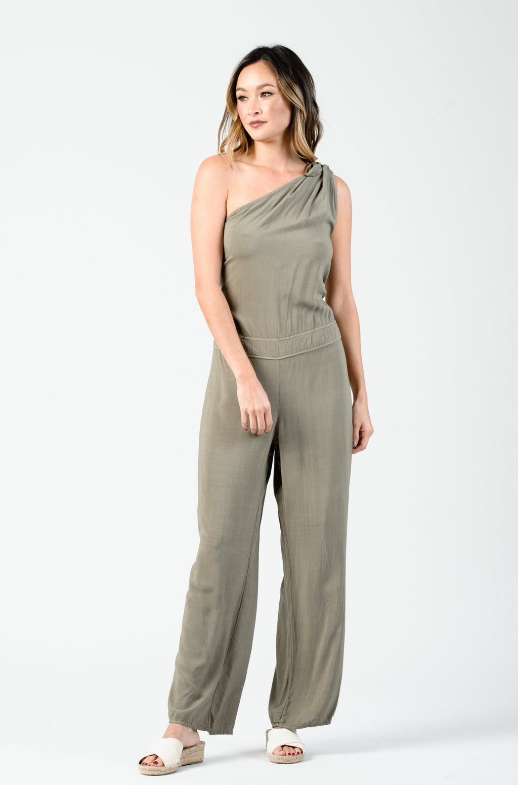 LUE ONE SHOULDER JUMPSUIT | SAGE
