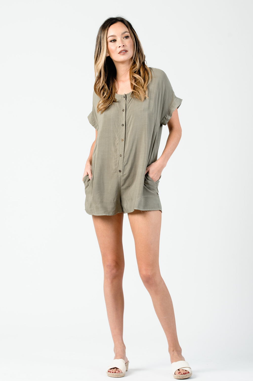 DOLMAN BUTTON DOWN ROMPER | SAGE
