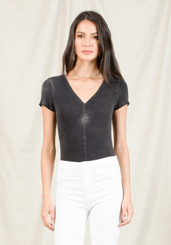 TAMARA RUCHED FRONT BODYSUIT | OIL WASH BLACK