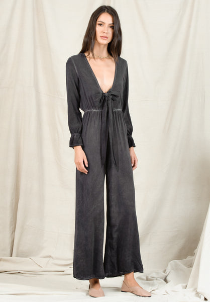 TAYA TIE JUMPSUIT | OIL WASH BLACK