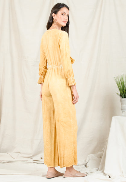 TAYA TIE JUMPSUIT | OIL WASH MUSTARD