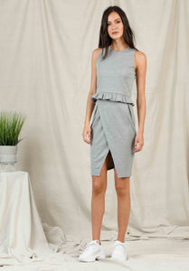 LISETTE ASYMMETRICAL PENCIL SKIRT | HEATHER GREY