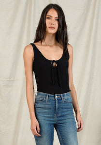 JONES KEYHOLE TIE TANK BODYSUIT | BLACK