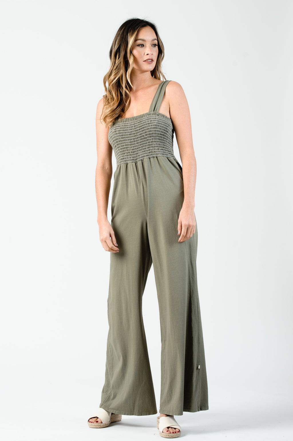 ANNE SMOCKED BODICE JUMPSUIT | SAGE