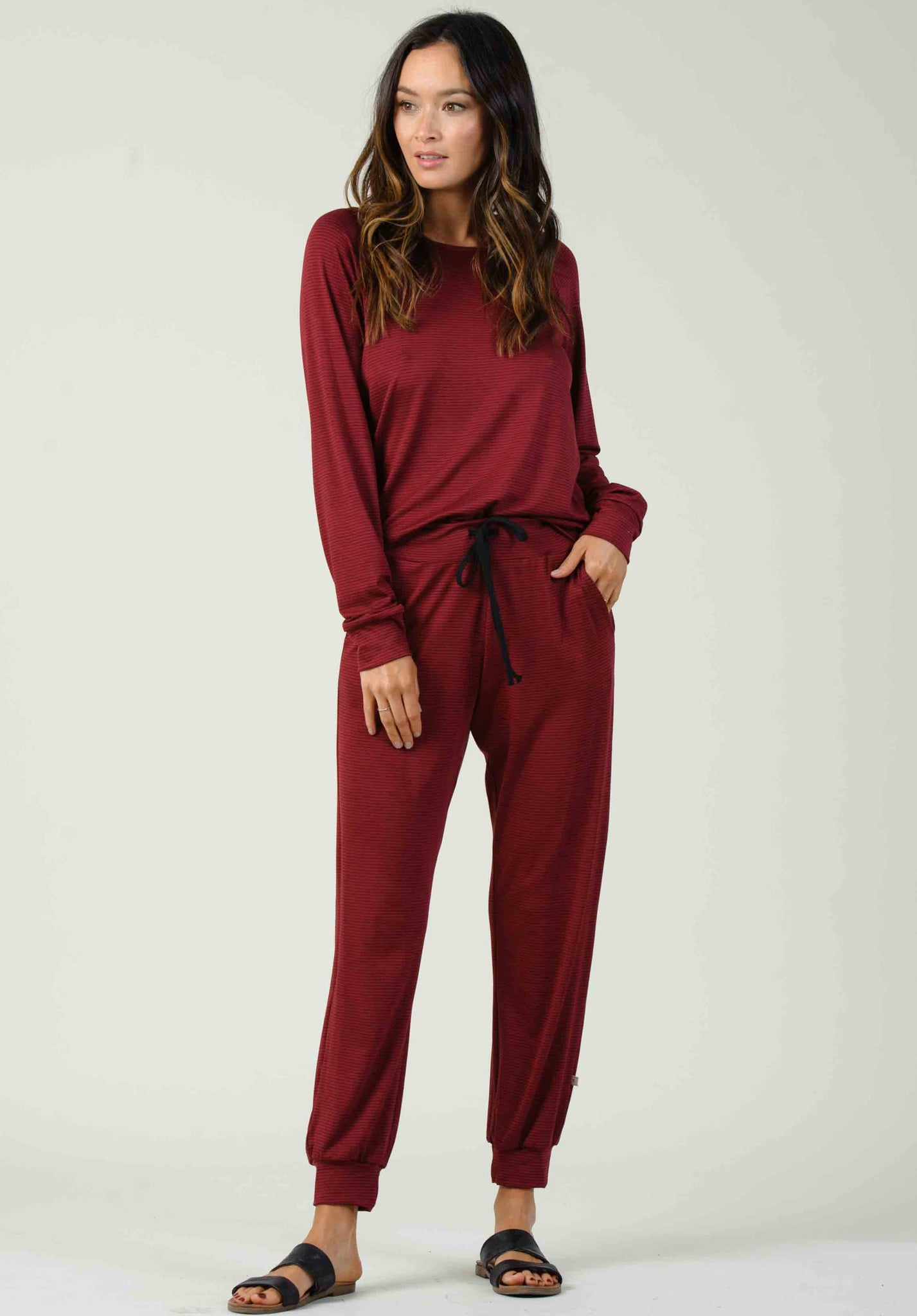 MOSCOW DRAWSTRING JOGGERS | BURGUNDY/BLACK STRIPE