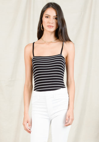CHRISTA CAMI BODYSUIT | BLACK/WHITE STRIPE