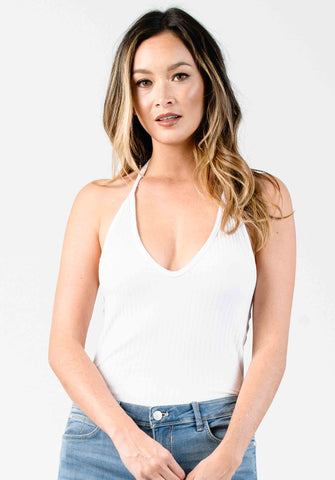 V-NECK HALTER BODYSUIT | WHITE