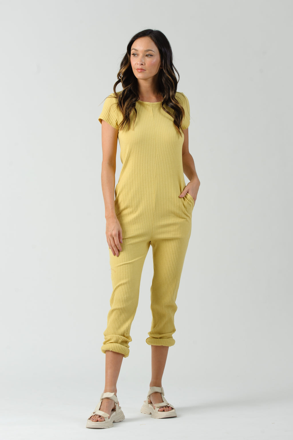 BLONDIE BACK SNAP CLOSURE JUMPSUIT | YELLOW